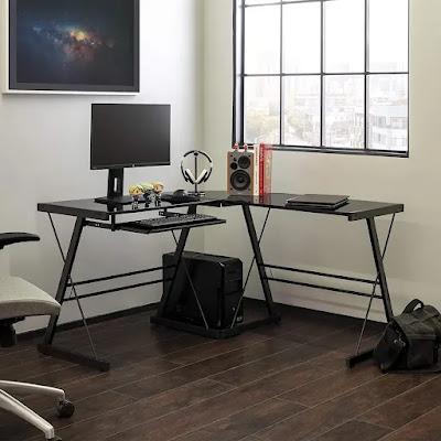 walker eddison l shape desk with ellis modern glass
