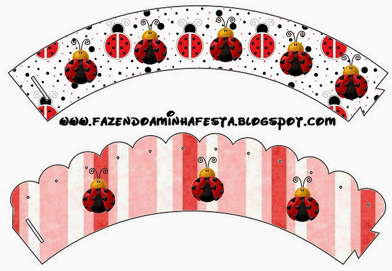 Free Printable Cupcake Wrappers of Ladybugs.