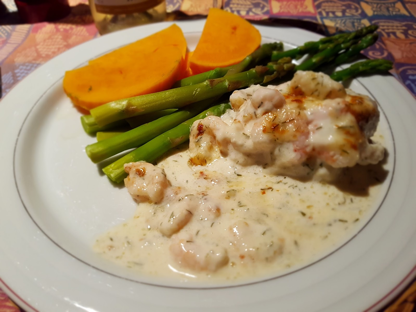 Rock Cod With Parmigiano and Shrimp Topping & trimmings