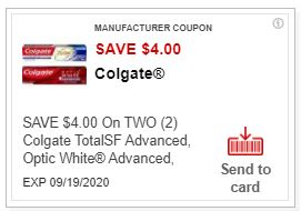 $4.00/2 Colgate Toothpaste CVS APP ONLY MFR Coupon (go to CVS App)