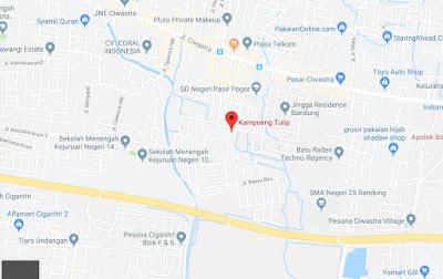 Peta menuju wisata Kampung Tulip Bandung