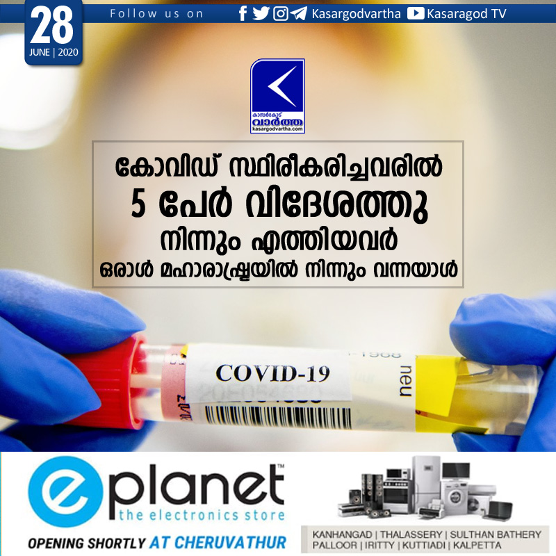 Kasaragod, Kerala, News, COVID-19, Case, Top-Headlines, Trending, 6 covid positive cases in Kasaragod
