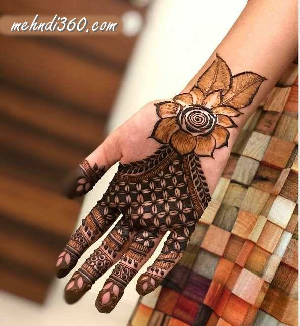 Big Flower Mehndi Design Front