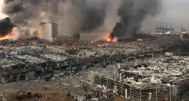 Video Ledakan Dahsyat Mirim Bom Hiroshima di Beirut Lebanon dari Beberapa Angle