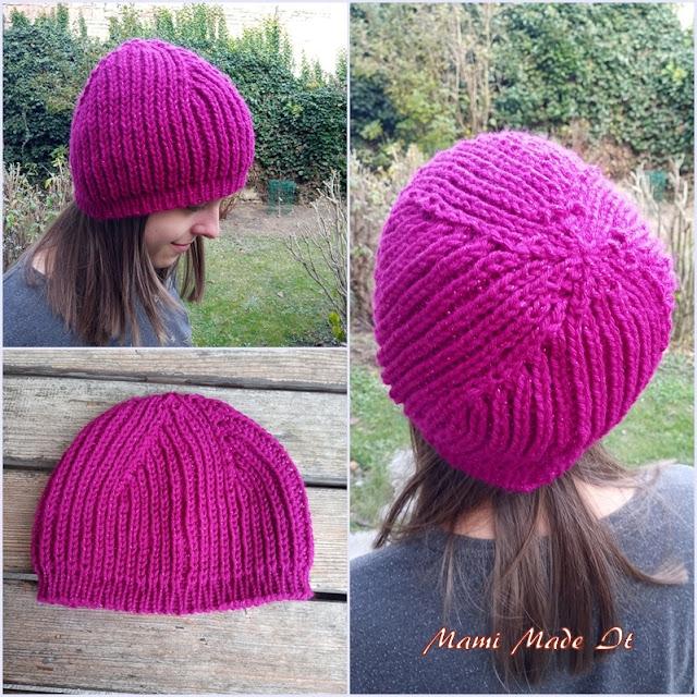 Mütze im Halbpatentmuster gestrickt - Knitted hat in Brioche Stitch