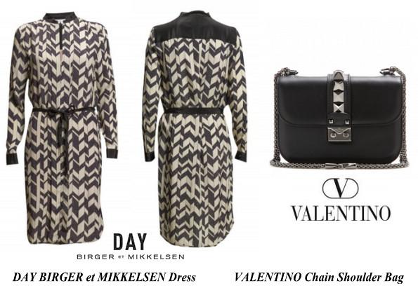 Princess Victoris's DAY BIRGER et MIKKELSEN Dress And VALENTINO Chain Shoulder Bag