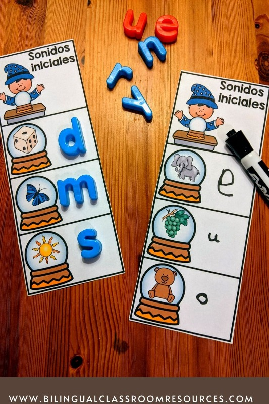 Beginning Sounds in Spanish-Sonidos iniciales