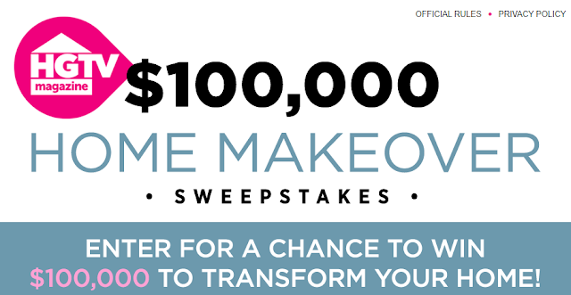 HGTV Magazine is giving one lucky winner $100,000 CASH to totally update their house in their Home Makeover Sweepstakes! Enter daily to win cash!