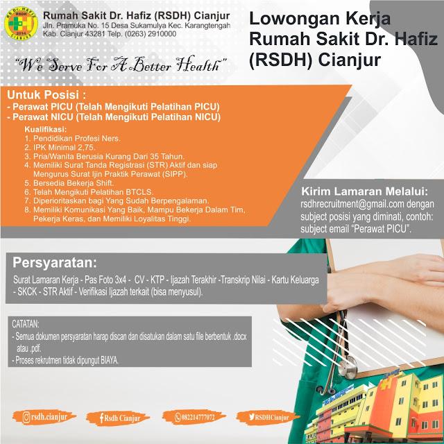 Lowongan Kerja Rumah Sakit Dr.Hafiz (RSDH) Cianjur