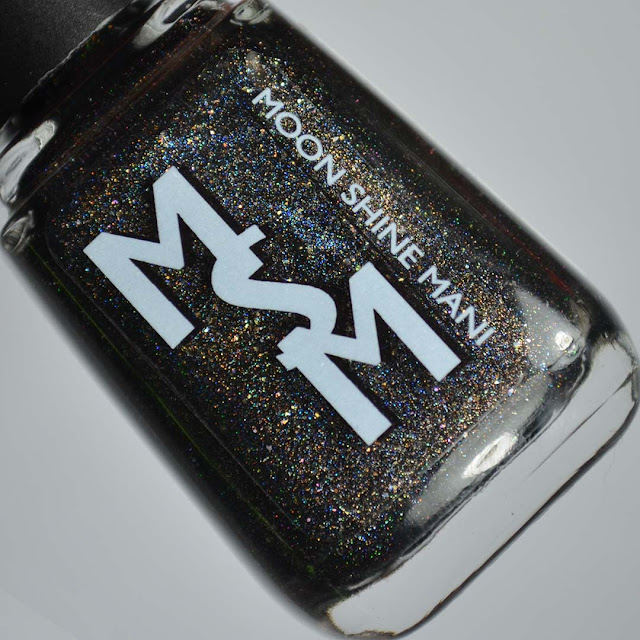 linear black holographic nail polish in a bottle