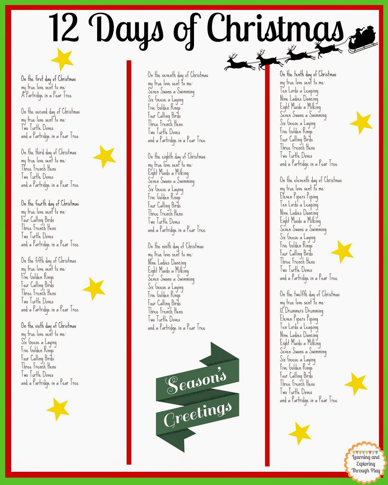 Gallery For Gt 12 Days Of Christmas Lyrics Printable