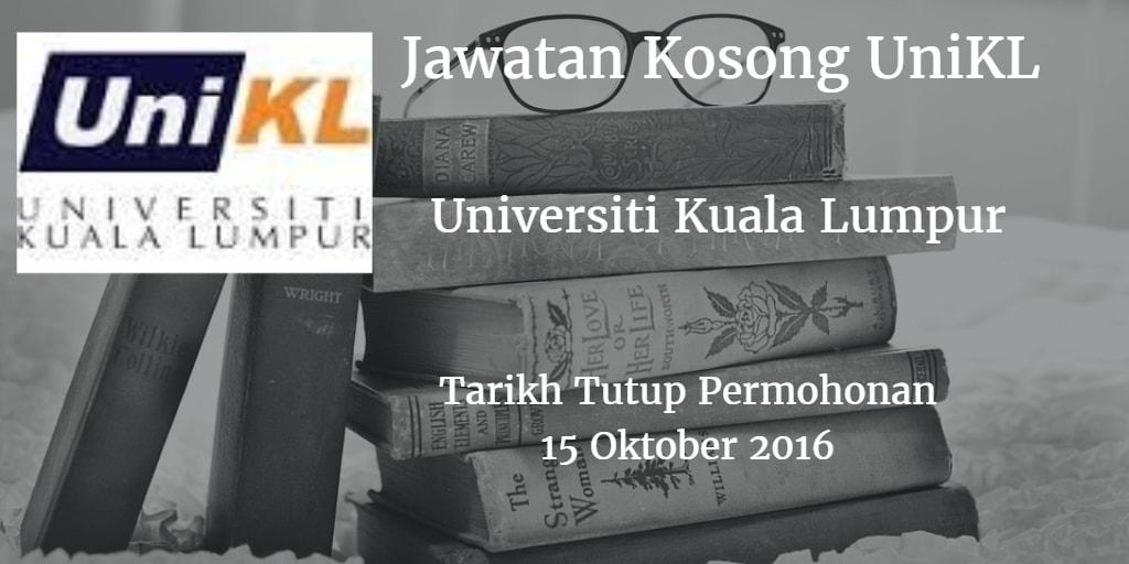 Jawatan Kosong UniKL 15 Oktober 2016