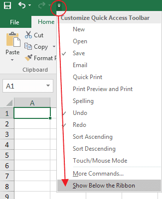 Change the Position of the Quick Access Toolbar