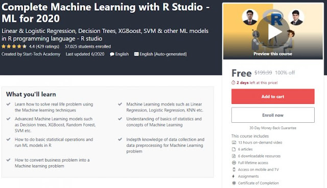 [100% Off] Complete Machine Learning with R Studio - ML for 2020| Worth 199,99$