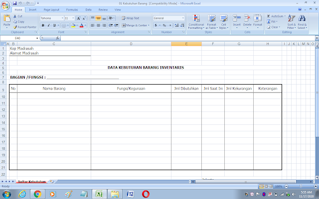 Format daftar kebutuhan barang inventaris di sekolah