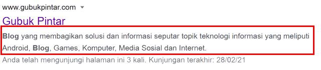 Meta Tag Description Blog di Halaman Pencarian