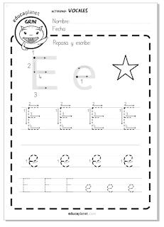 Fichas lectoescritura para imprimir en Infantil y Primaria 5 años mayúscula y minúscula con imagen