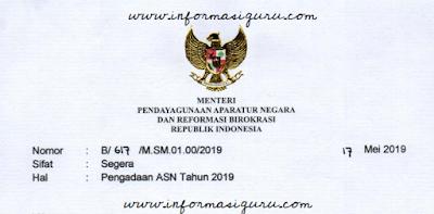 Download Surat Menteri PANRB Nomor : B/617/M.SM.01.00/2019 Tentang Pengadaan ASN Tahun 2019 I pdf
