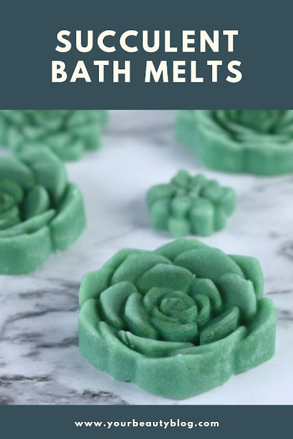 How to make diy bath melts. This easy recipe has shea butter, cocoa butter, and essential oils and is without citric acid. Get DIY bath and body ideas and fun tutorials and crafts to make. These homemade bath melts are shaped like succuelents.  They are moisturizing and great for dry skin.  If you need gift ideas for her or for teachers or for friends, try this.  #bathmelt #succulent