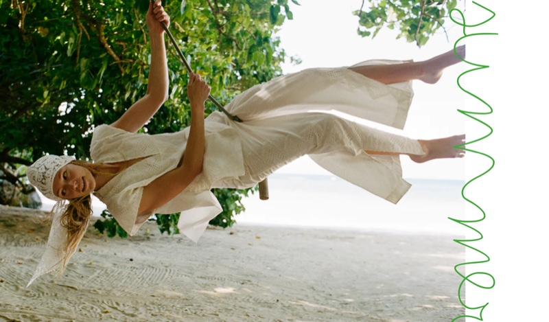 Model Nikki McGuire wears Zara lace trim linen top and matching pants.