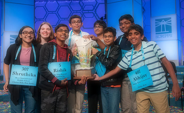 National Spelling Bee uses 'octochamps' in a sentence, crowning eight co-champions