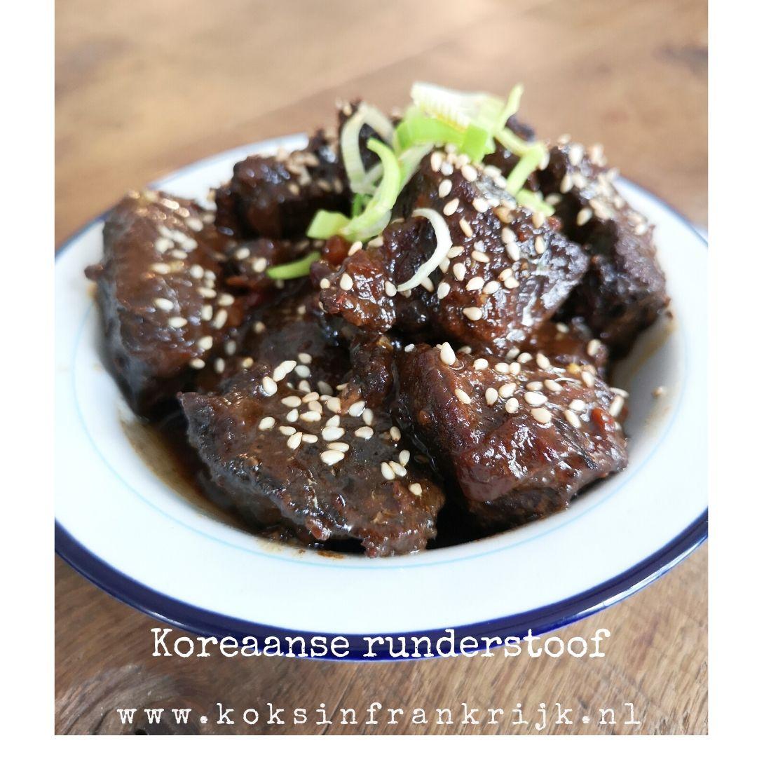 Langzaam gegaard rundvlees in sojasaus met sesam