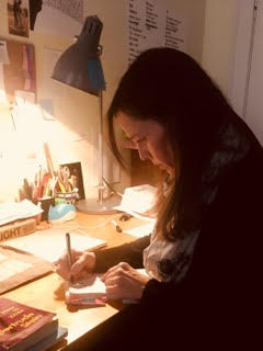 Leslie Bumstead, Author of Cipher/Civilian (Edge) at her writing desk