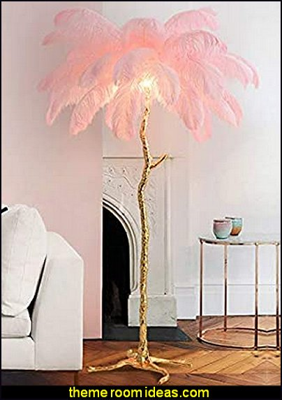 Feather Floor lamp pink romantic bedroom decorating ideas - romantic bedding ideas - romantic master bedroom ideas -  Romantic Luxury decor -  hearts and flowers Valentines Day style - valentines day bedroom ideas - heart shaped candles - heart shaped decorations - bed canopy