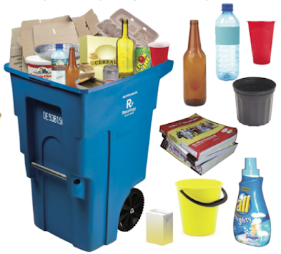 blue recycling bin full of stuff, with pictures next to it of acceptable items: glass bottles, plastic bottles, etc.