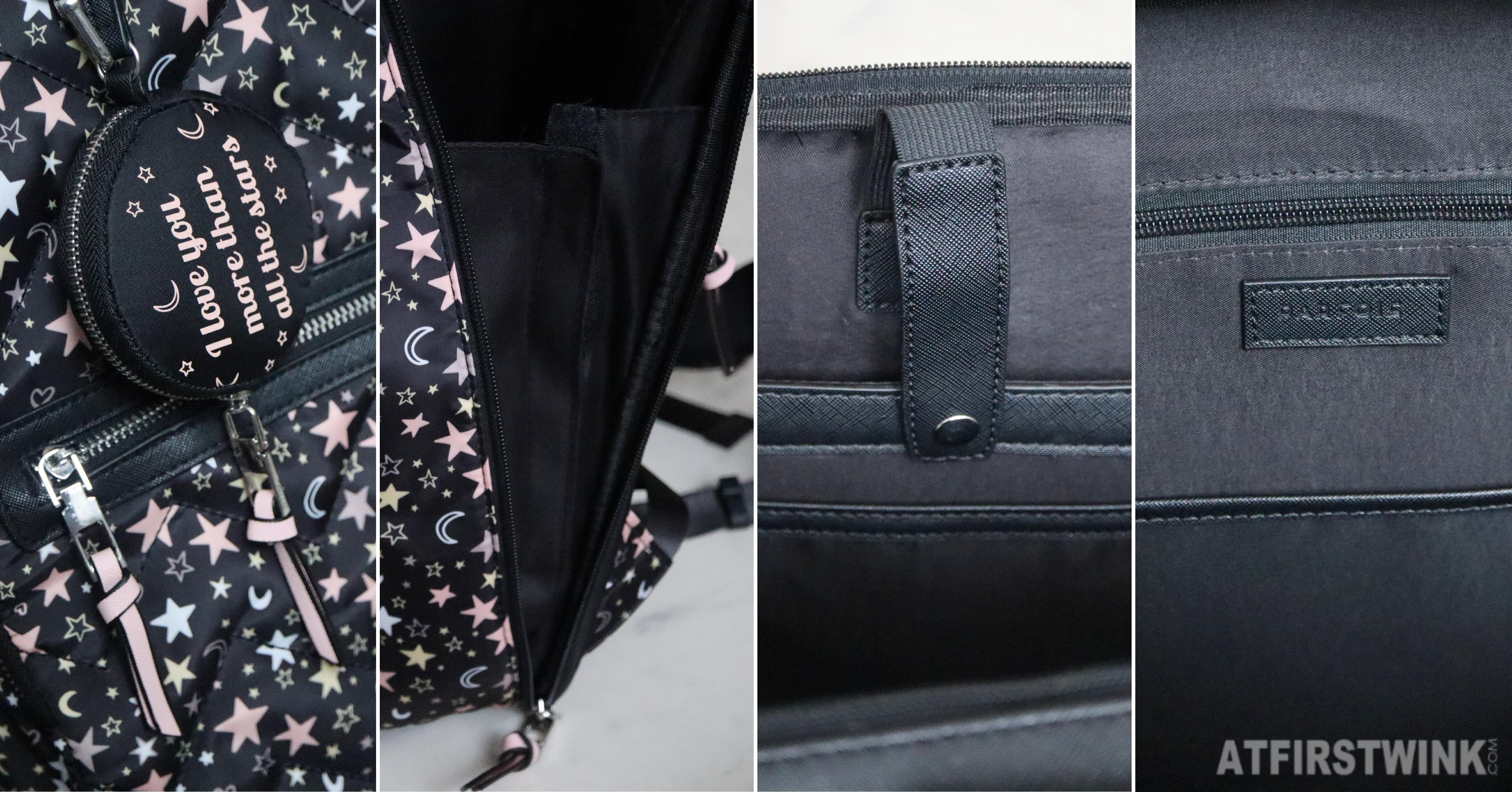 Parfois black star pattern backpack pockets