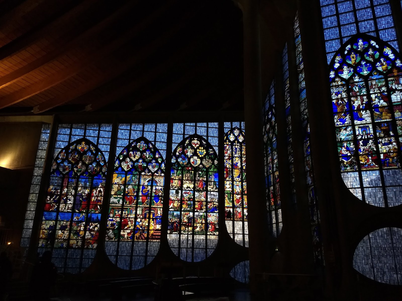 Stained glass window panes in the Joan of Arc Church in Rouen.