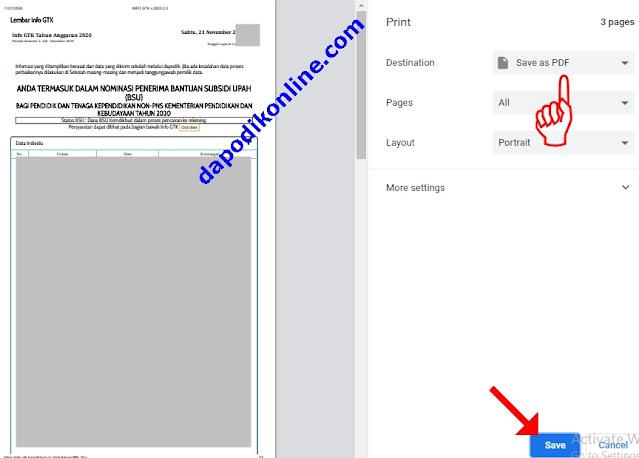 Save as PDF Lembar Info GTK