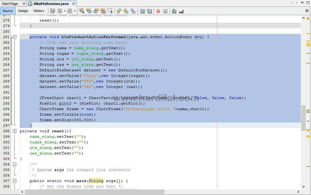 memberikan source code pada tombol piechart