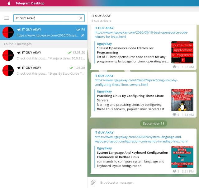 telegram, app for Linux system