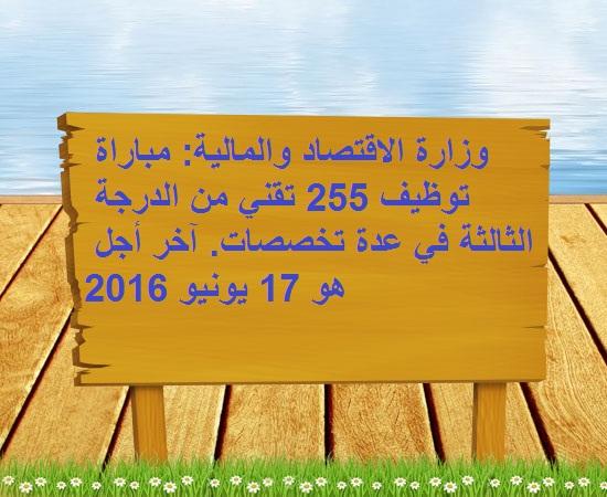 وزارة الاقتصاد والمالية: مباراة توظيف 255 تقني من الدرجة الثالثة في عدة تخصصات. آخر أجل هو 17 يونيو 2016