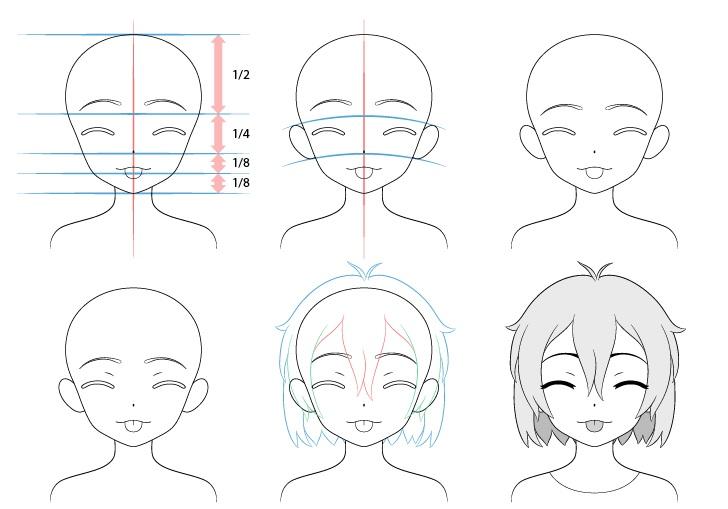 Gadis anime lidah keluar menggoda menggambar wajah selangkah demi selangkah