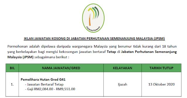 jabatan perhutanan semenanjung malaysia jawatan kosong
