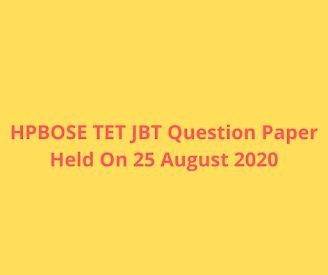 HPBOSE TET JBT Question Paper Held On 25 August 2020