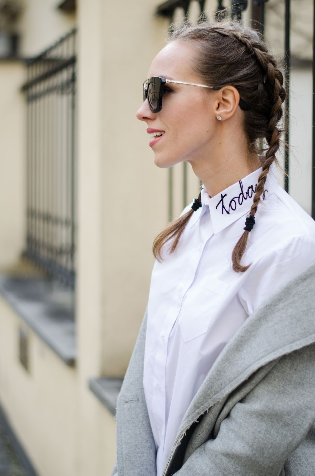kristjaana mere french braids white collar shirt with letter print lucky today