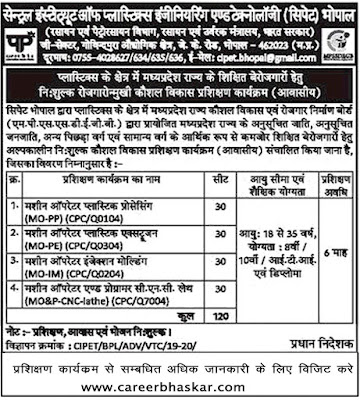CIPET Bhopal, CIPET Free Training Course, Bhopal Free Training Course, Free Training Course, free courses in Bhopal, CIPET Bhopal Free Training Course, cipet bhopal admission 2020 cipet bhopal helpline number, cipet bhopal contact number,  cipet bhopal recruitment 2020, cipet bhopal free training cipet bhopal team cipet bhopal tender.