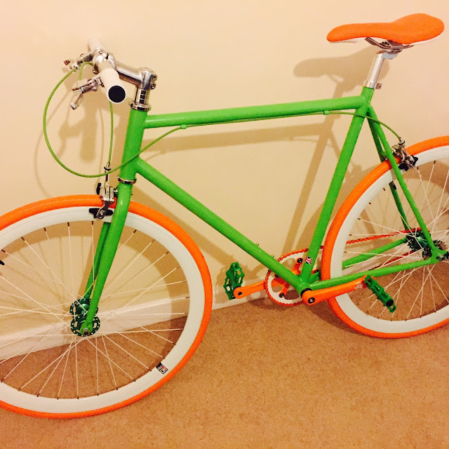 #sendUsYourBike |  Saul Goodsir's green-white-orange fixie!