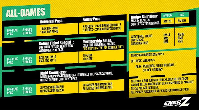 Ticket Price Enerz Extreme Indoor Park