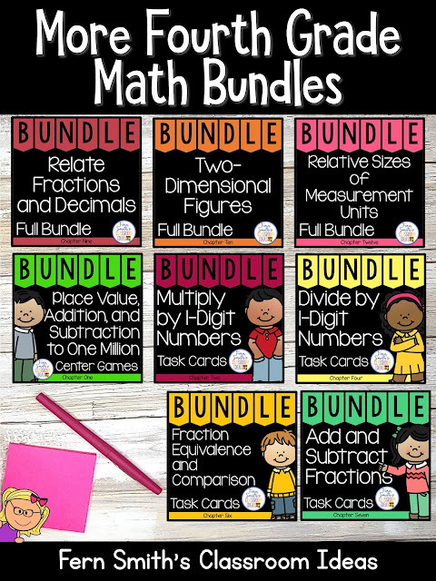 You can click on the link below to arrive at my TpT store already sorted for the grade level items you want for your class. More Fourth Grade Go Math Bundles for Your Fourth Grade and Fifth Grade Students. #FernSmithsClassroomIdeas