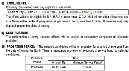 Bank of Maharashtra Officer Pay Scale