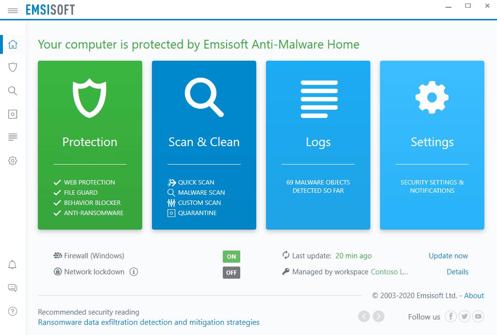 Emsisoft Anti-Malware Main Interface Screenshot