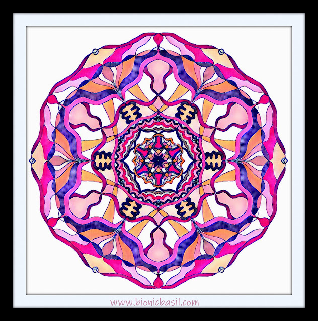 Mandalas on Monday ©BionicBasil® Colouring With Cats Mandala #107 coloured by Cathrine Garnell
