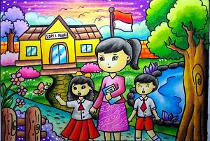 sketsa gambar suasana bermain di halaman sekolah www.simplenews.com