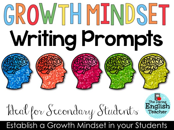 Growth mindset writing prompts for secondary students.