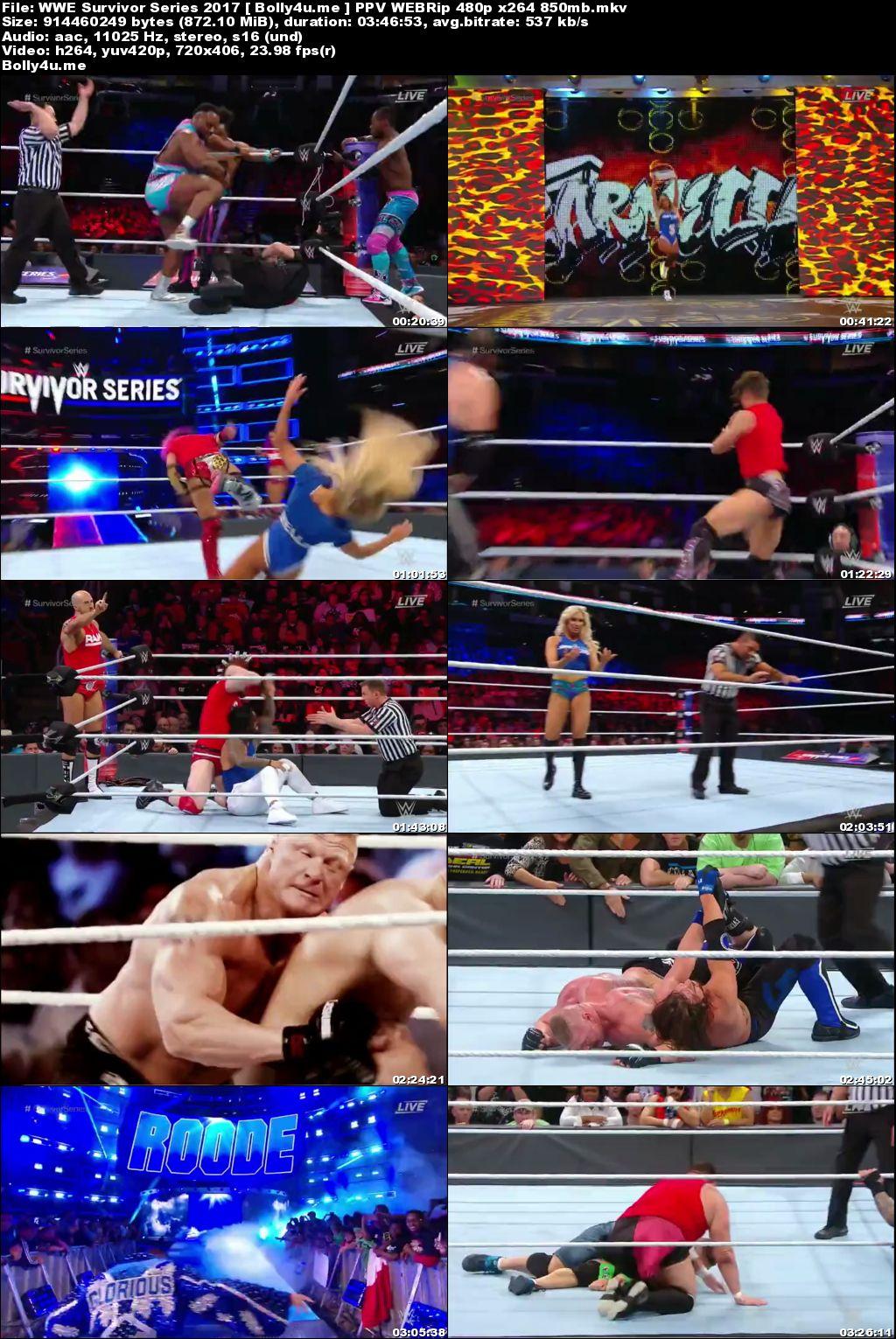WWE Survivor Series 2017 PPV WEBRip 850MB 480p Download