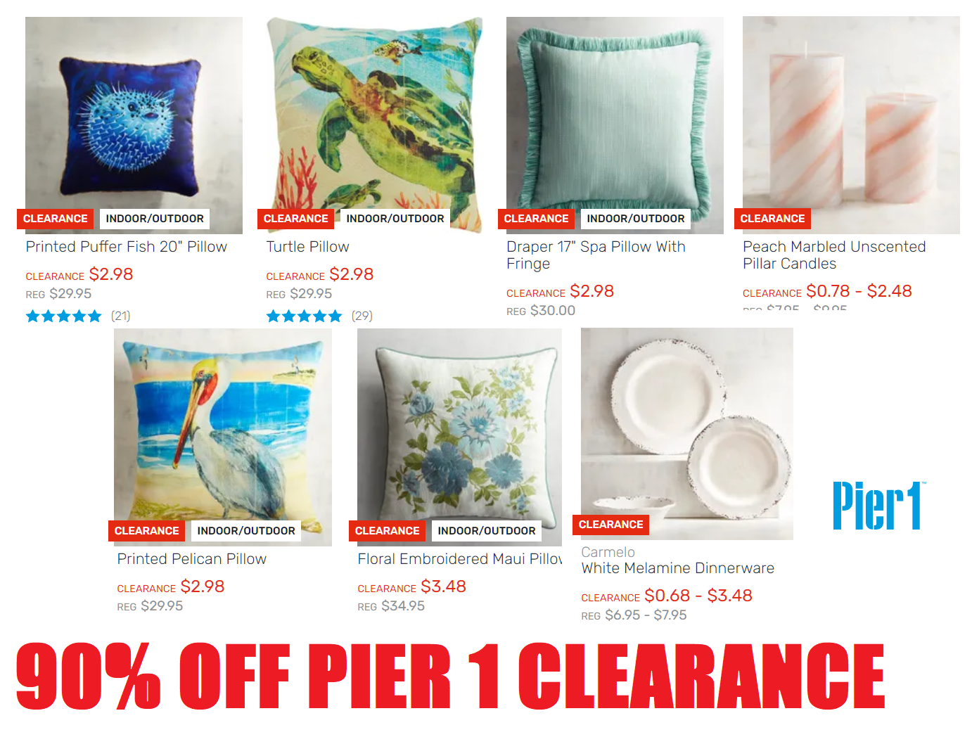 90 Off Pier 1 Imports Clearance Sale 20 Decorative Pillows 2 98